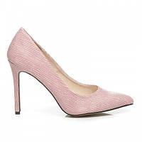Фактурные женские розовые туфли лодочки на шпильке