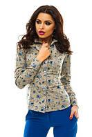 Рубашка Женская Офисный Элегантный Стиль Блузка Цветы