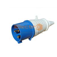 """Вилка силовая переносная РС-023 2 полюса+PE 32А 230В IP44 ТМ """"Electro"""""""