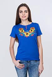 Вишита жіноча футболка кольору електрик