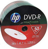 Диск HP DVD-R 4,7 GB 16x Full Surface Inkjet Printable white Shrink/50