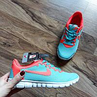 Кроссовки женские мятные Nike free run / фри ран