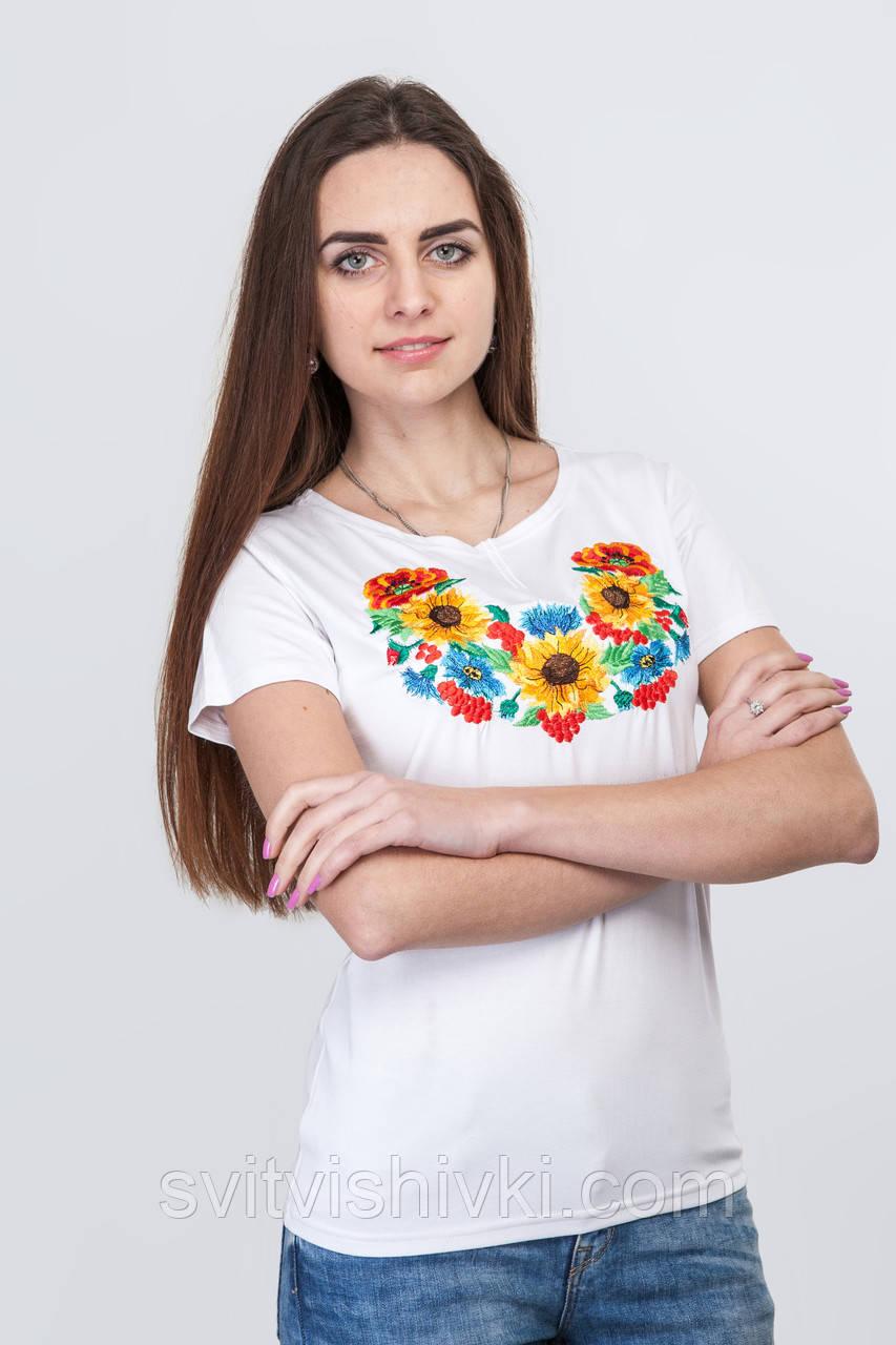 """Вышитая женская футболка с цветочным принтом на белом стрейче - интернет магазин """"Світ Вишивки"""" в Хмельницком"""