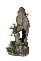 Декорация Trixie (Трикси) «Скала с пещерой и растениями» 37 см