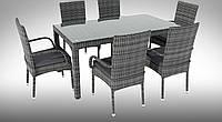 Комплект  плетенный RICCIO IV GREY  стол 160см +6 кресел