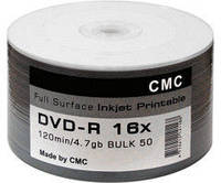 Диск CMC Magnetics DVD-R 4,7 GB 16x Full surface  printable white glossy Bulk/50