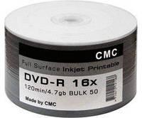 Диск CMC Magnetics DVD-R 4,7 GB 16x Full surface  printable white glossy Bulk/50