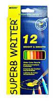 Карандаши цветные Marco Superb Writer акварельные с кисточкой 12 цветов 4120-12CB
