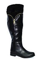 Сапоги зимние кожаные на меху, широкое голенище! 36 размер