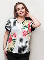 Красивая футболка с розами и пионами