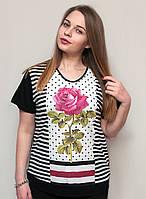 Модная футболка  розовая роза