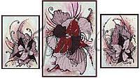 Схема для вышивания бисером Абстракция цветы (триптих) КМРТ1003
