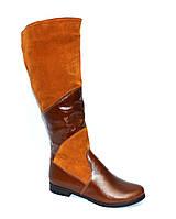 Сапоги высокие демисезонные коричневые на байке, на низком ходу., фото 1