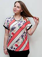 Батальная футболка в цветочный принт, фото 1
