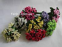 """Комплект """"Тычинки в сахаре"""" из 8 разных расцветок, искусственных на розетке листьев (1 комп - 8 расцветок )"""