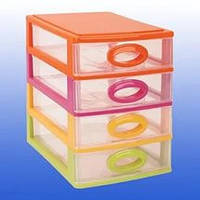 Комод пластиковый канцелярский (4 ящика) Цветной