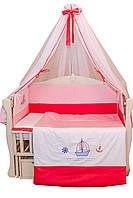 """Детский постельный комплект """"Кораблик""""  8 элементов с вышивкой"""