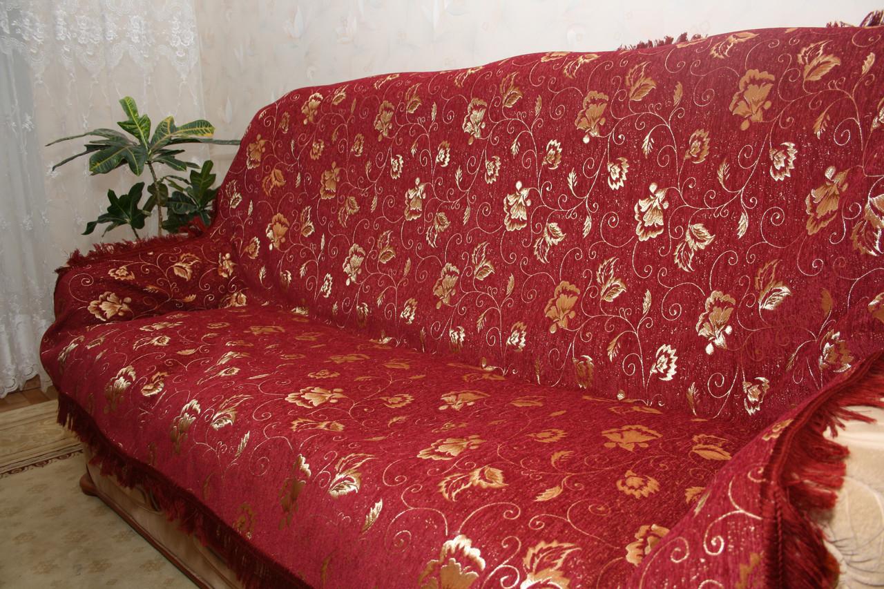 Покрывала Бутон бордовый из гобелена на большую кровать