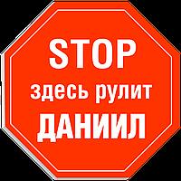 """Табличка на дверь """"STOP: Здесь рулит ДАНИИЛ!"""""""