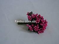 """""""Тычинки в сахаре"""" малиновые, искусственных на розетке листьев (1 набор - 12 веточек ), фото 1"""