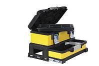 Ящик инструментальный 54x28x33 профи 2 секции, металлопластик (выдвижная секция 10см) желтый