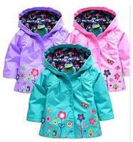 Детский плащ дождевик для девочки на кнопках