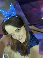 Повязка для волос синяя в белый горошек