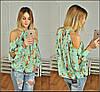 Шифоновая блузка с принтом и вырезами на плечах, фото 2