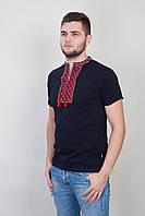 Мужская вышитая черная футболка с красным принтом