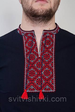 Мужская вышитая черная футболка с красным принтом, фото 2