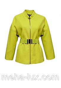 Пальто Icon короткое с поясом лимонного цвета