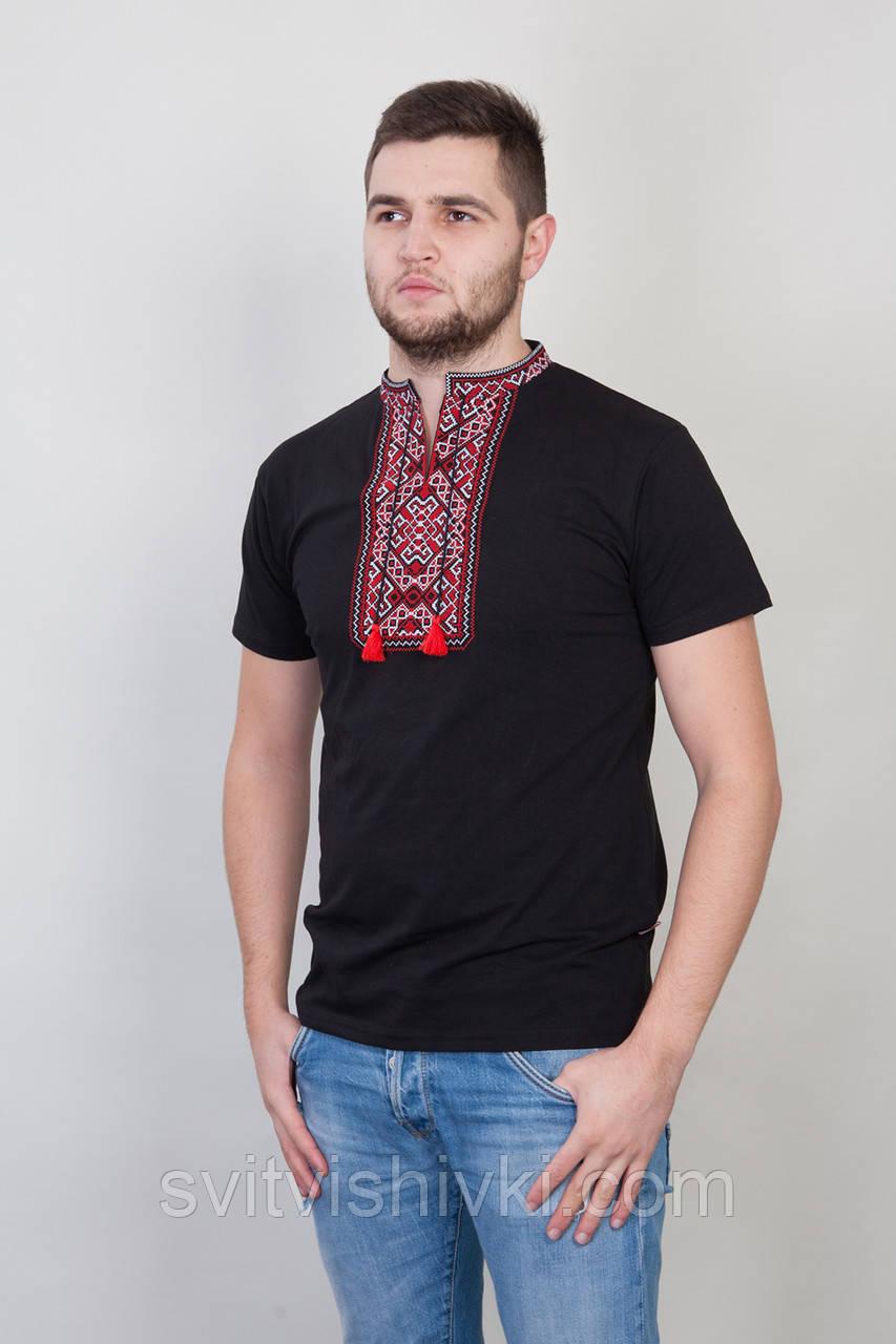 Чорна чоловіча футболка з червоною вишивкою