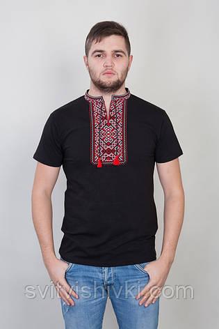 Чорна чоловіча футболка з червоною вишивкою, фото 2