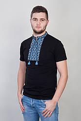 Мужская вышитая футболка с синим узором на черном трикотаже