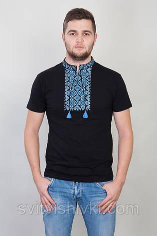 Чоловіча вишита футболка з синім візерунком на чорному трикотажі, фото 2