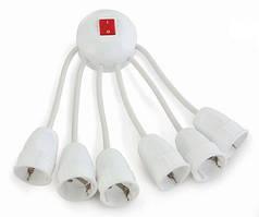 Разветвитель Octopus на 6 электроприборов с выключателем и двумя спиральными кабелями цена купить