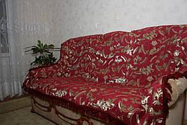 Гобеленове червоне покривало Версаче на великий диван і два крісла