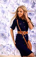 Платье Сафари стильное льняное цвет  тёмно синий