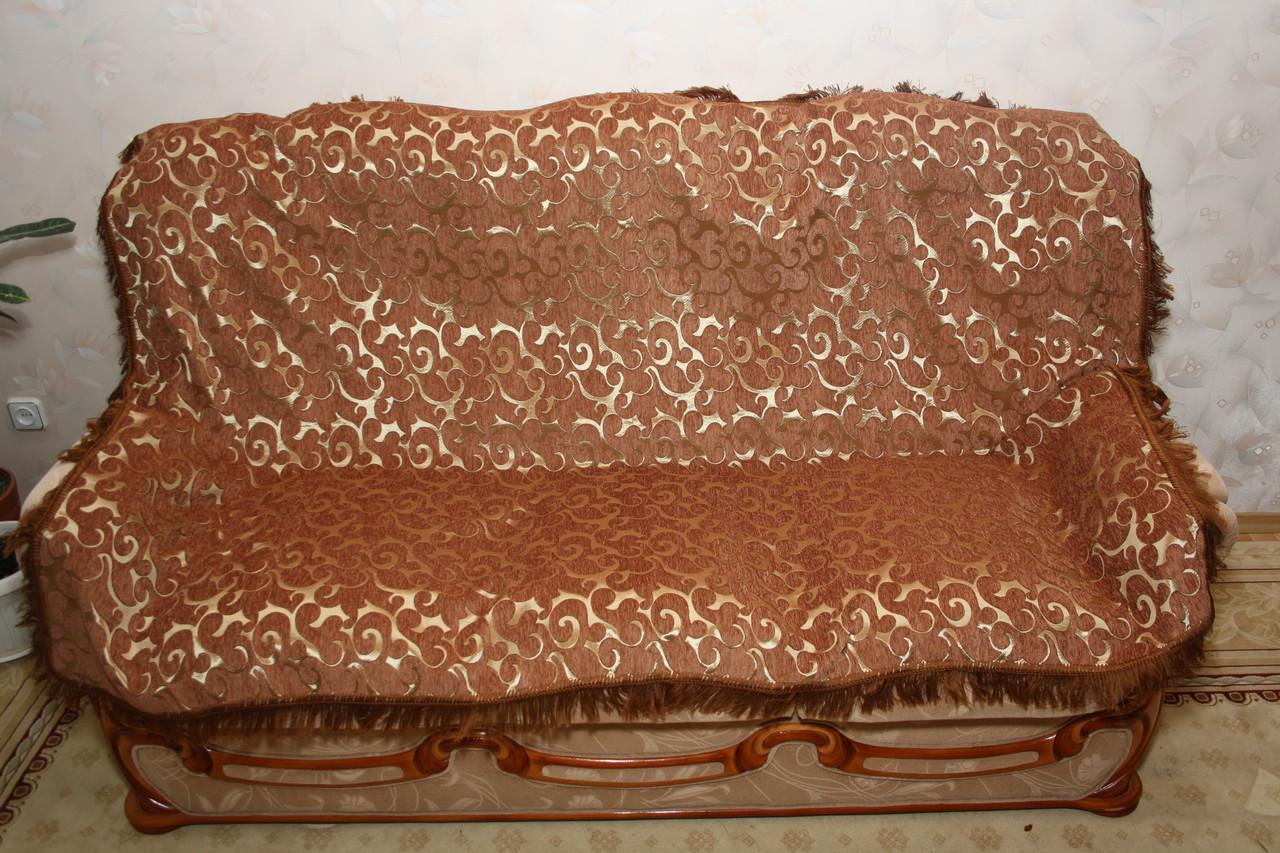 Вензель песочный комплект полутороспальных покрывал (дивандеки) на кровать и два кресла