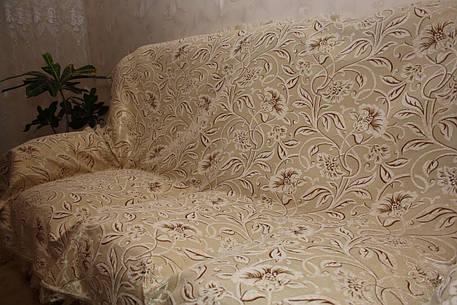 Бежевая орхидея комплекты на диван и два кресла ( дивандеки) полутороспальные, фото 2