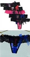 Трусики стринги ажурные с бантиками, нижнее белье ажурное для очаровательных девушек. Украина.