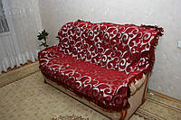"""""""Вензель крупный"""" комплект гобеленовых покрывал (Дивандеки) на диван и два кресла бордовый"""