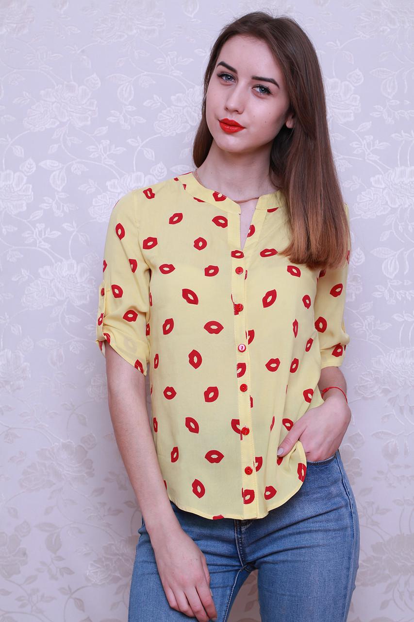 Женская стильная элегантная рубашка из штапеля р. 42-48