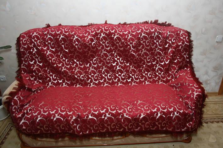 Двуспальные покрывала Вензель бордовый в комплекте для дивана и кресел, фото 2