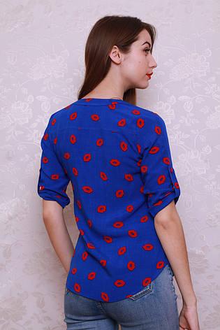 Красивая и стильная рубашка из штапеля модной расцветки с принтом., фото 2