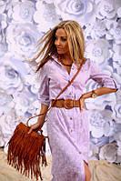 Платье рубашка Макси цвет сиреневый