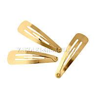 Заколки оптом; Зажим для волос тик-так, материал: железо, длина: 4,5 см, цвет: золотистый, 40 штук на ленте