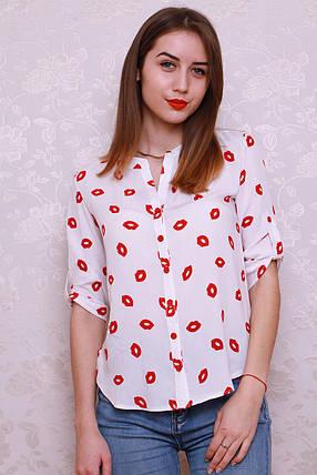 Красивая и стильная рубашка из штапеля с оригинальным принтом., фото 2
