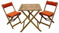 Набор складной мебели: стол + 2 стула, подушки(терракот)