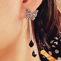 Сережки Метелики з підвіскою